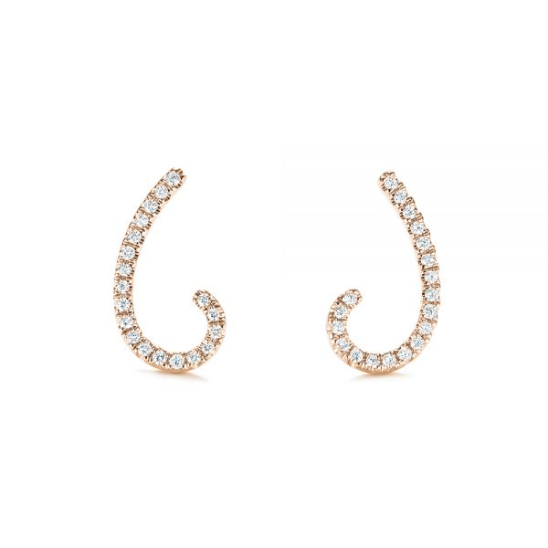 14k Rose Gold 14k Rose Gold Diamond Earrings - Front View -