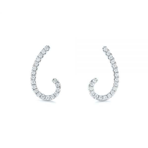 14k White Gold Diamond Earrings - Front View -