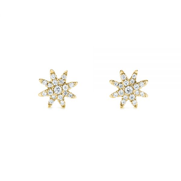 14k Yellow Gold 14k Yellow Gold Diamond Earrings - Front View -