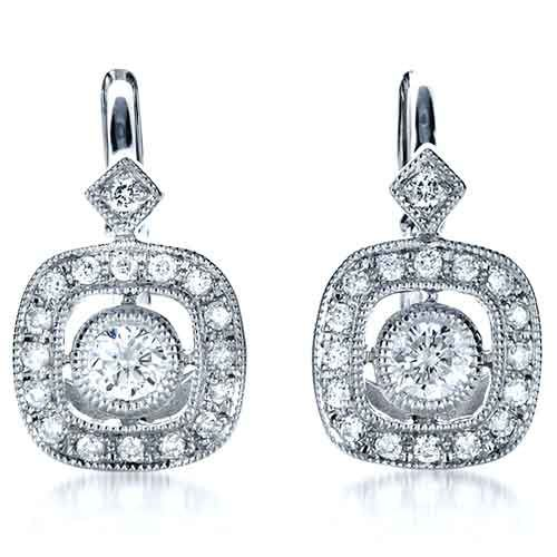 14k White Gold Diamond Filigree Earrings - Three-Quarter View -  1182