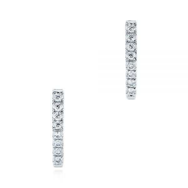 Diamond Geometric Hexagon Hoop Earrings - Image