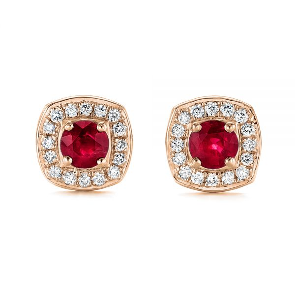 14k Rose Gold 14k Rose Gold Diamond Halo And Ruby Earrings - Three-Quarter View -  104016