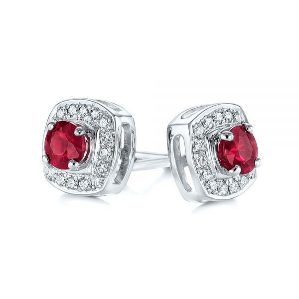 Diamond Halo and Ruby Earrings - Front View -  104016 - Thumbnail