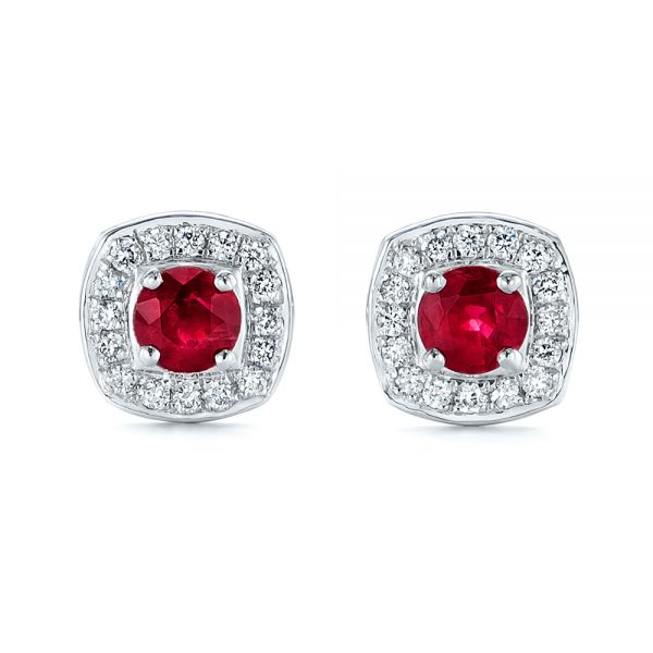 Diamond Halo and Ruby Earrings - Image