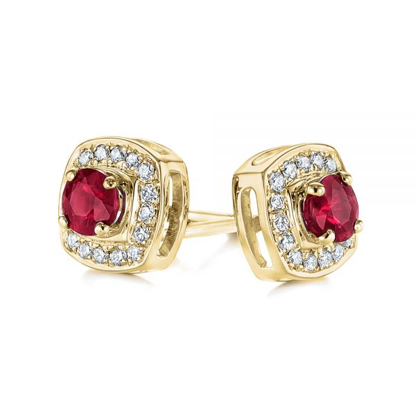18k Yellow Gold 18k Yellow Gold Diamond Halo And Ruby Earrings - Front View -  104016