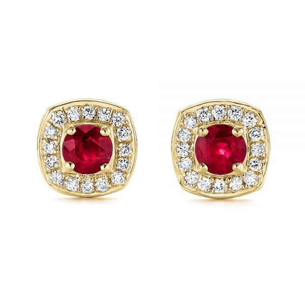 18k Yellow Gold 18k Yellow Gold Diamond Halo And Ruby Earrings - Three-Quarter View -  104016