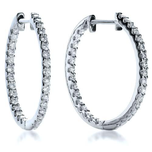 Eternity Diamond Hoop Earrings - Laying View