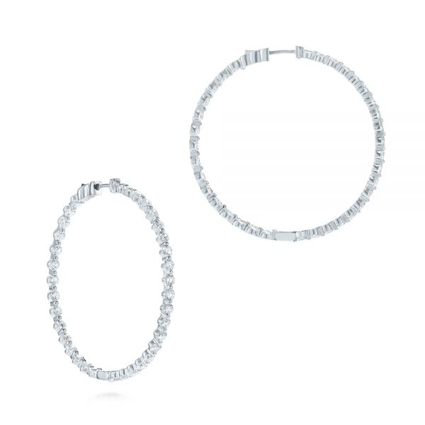 14k White Gold Diamond Hoop Earrings - Front View -