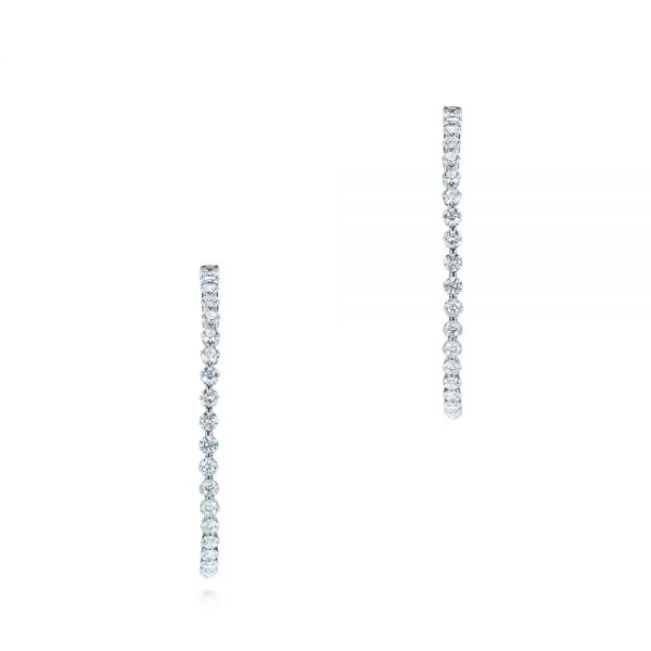 14k White Gold Diamond Hoop Earrings - Three-Quarter View -