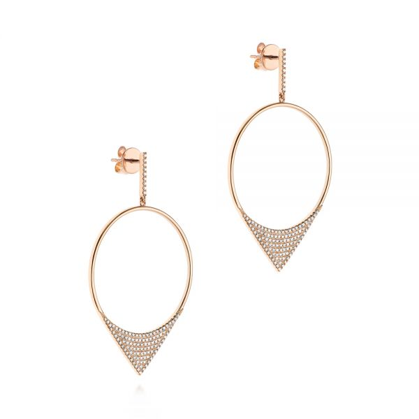 14k Rose Gold Diamond Pave Drop Earrings - Front View -  105290 - Thumbnail