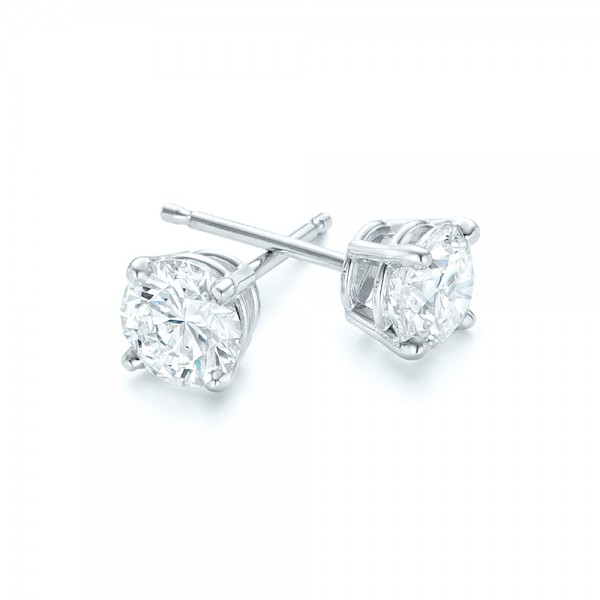 14K Diamond Stud Earrings - Flat View -  102567 - Thumbnail