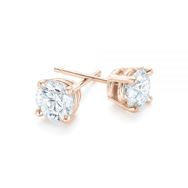 18k Rose Gold 18k Rose Gold Diamond Stud Earrings - Front View -  102560