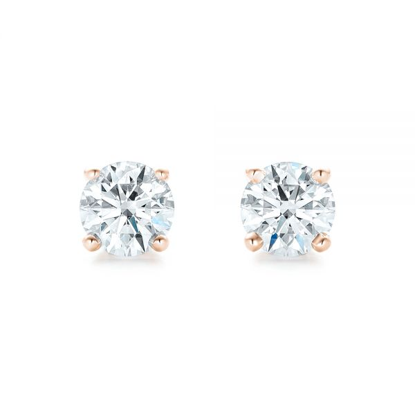 18k Rose Gold 18k Rose Gold Diamond Stud Earrings - Top View -  102560