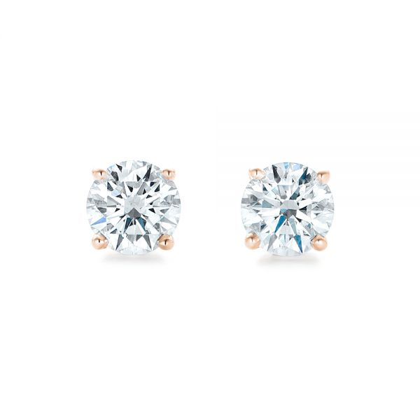 14k Rose Gold 14k Rose Gold Diamond Stud Earrings - Top View -  102567