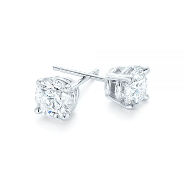 Diamond Stud Earrings - Front View -