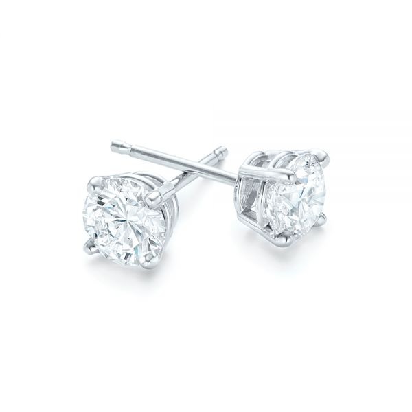 14K Diamond Stud Earrings - Front View -  102567 - Thumbnail