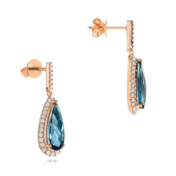 14k Rose Gold Diamond And London Blue Topaz Dangle Earrings - Front View -  103174