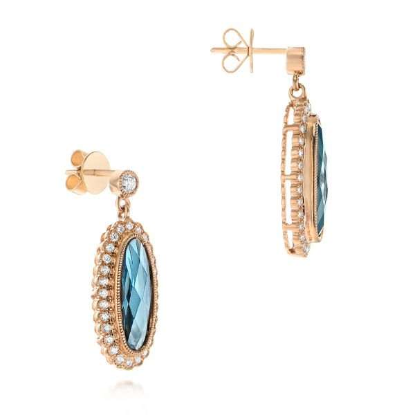 Diamond and London Blue Topaz Dangle Earrings - Front View -  103416 - Thumbnail