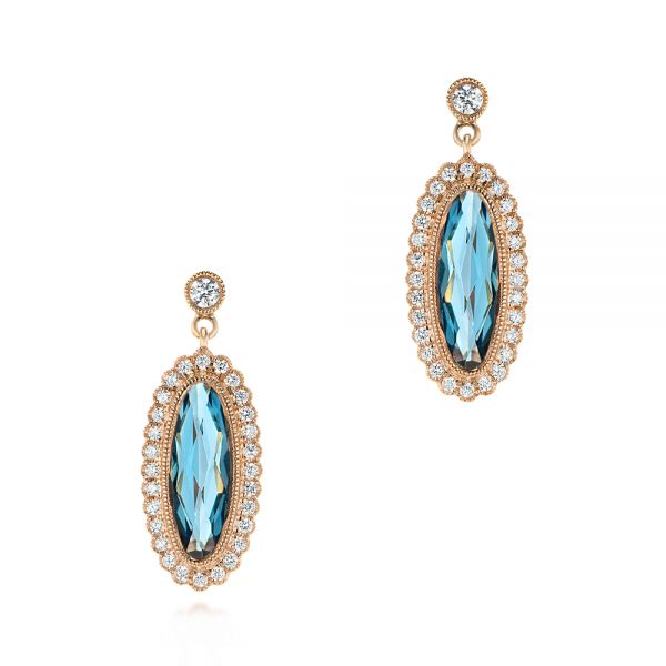 Diamond and London Blue Topaz Dangle Earrings - Image