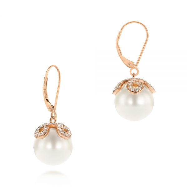 14k Rose Gold Diamond And White Pearl Earrings - Front View -