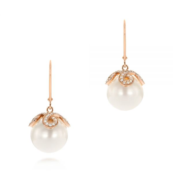 Diamond and White Pearl Earrings - Image