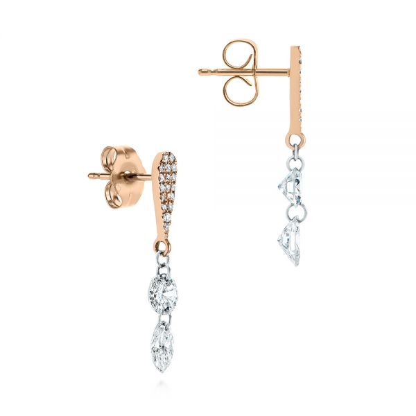 14k Rose Gold Drilled Diamond Drop Earrings - Front View -