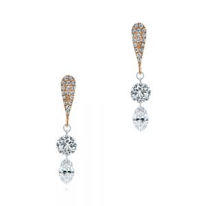 Drilled Diamond Drop Earrings - Image