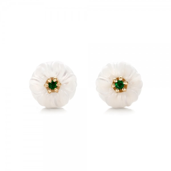 Emerald Lily Fresh Water Carved Pearl Earrings