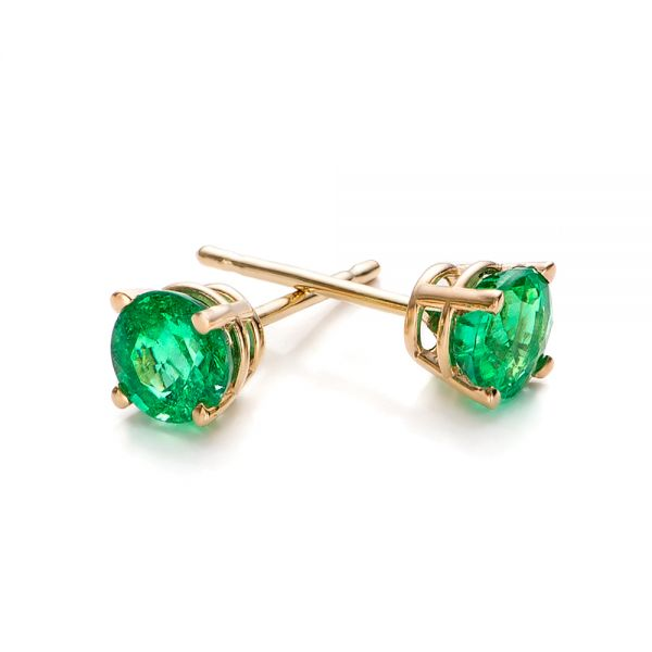 Emerald Stud Earrings - Front View -