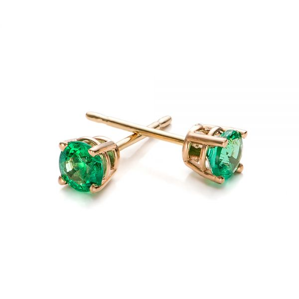Emerald Stud Earrings - Front View -  100953