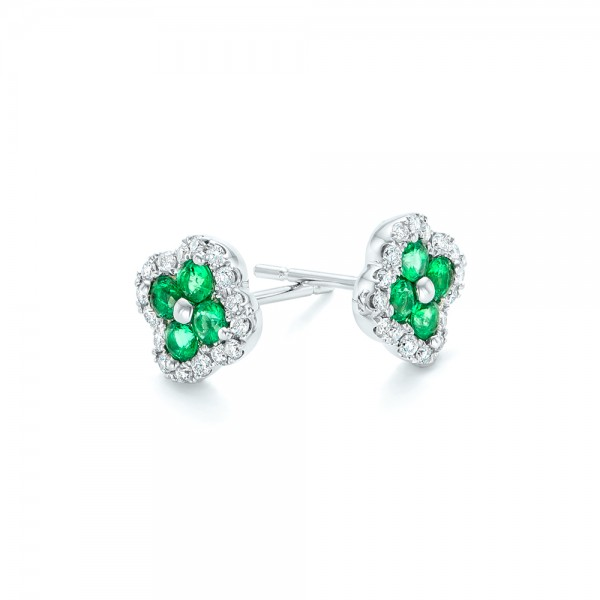 Emerald and Diamond Earrings - Flat View -  102670 - Thumbnail