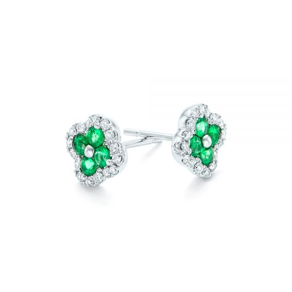 Emerald And Diamond Earrings - Front View -  102670