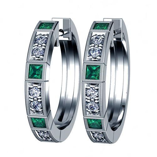 14K Gold Emerald And Diamond Earrings - Three-Quarter View -