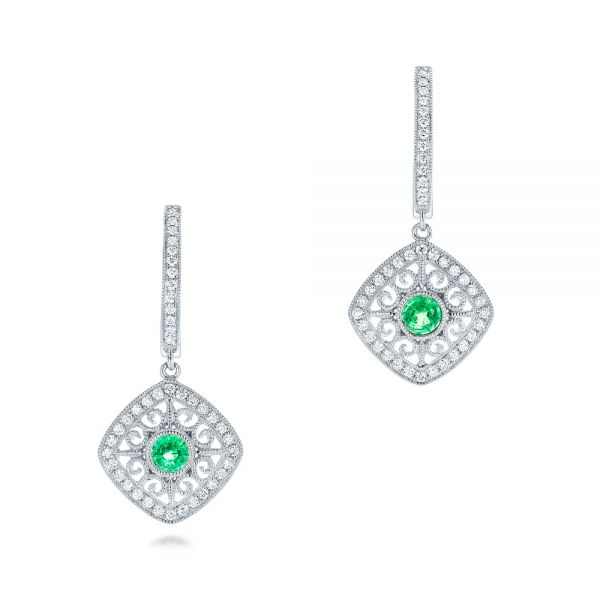 Emerald and Diamond Filigree Earrings - Image