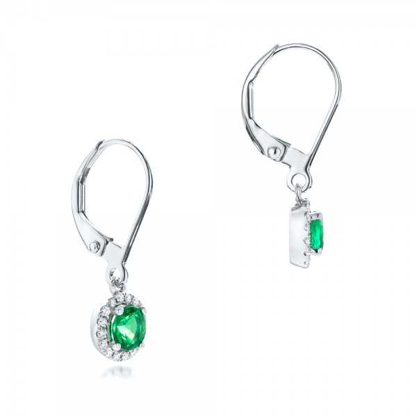 Emerald and Diamond Halo Earrings - Flat View -  102722 - Thumbnail