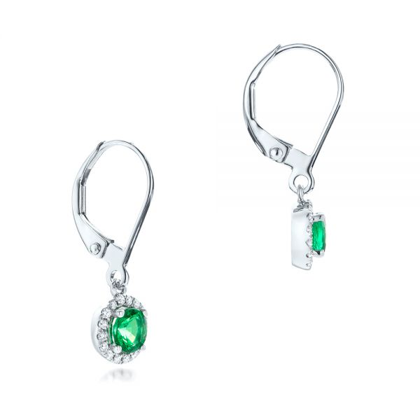 Emerald And Diamond Halo Earrings - Front View -