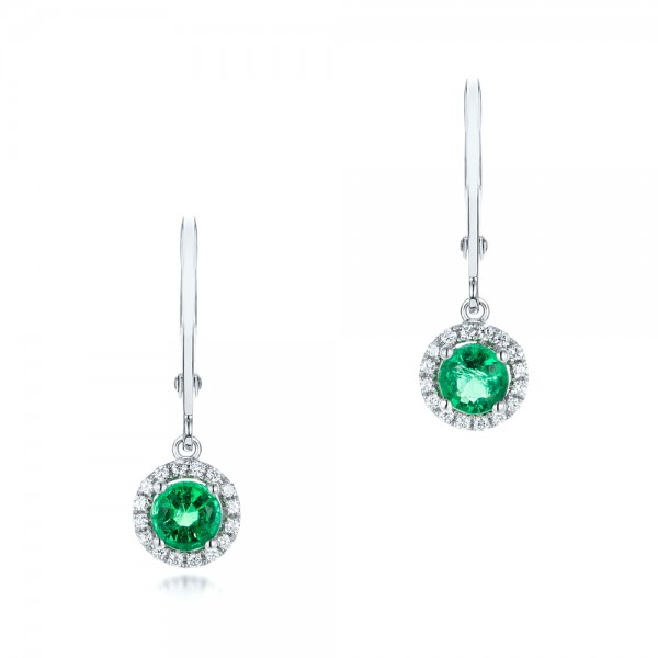 Emerald and Diamond Halo Earrings - Three-Quarter View -  102722 - Thumbnail
