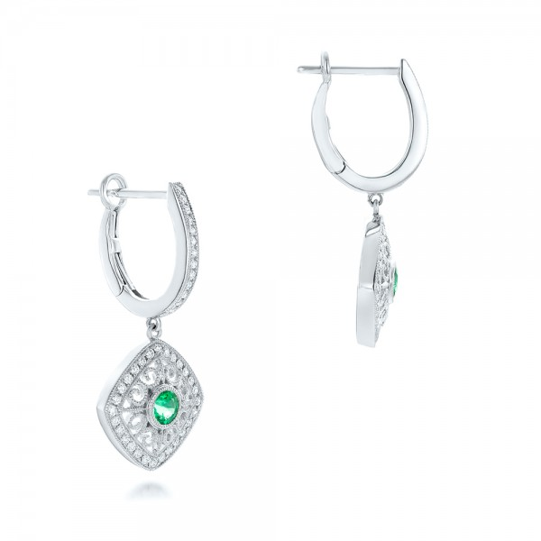 Emerald and Diamond Filigree Earrings - Flat View -  102671 - Thumbnail
