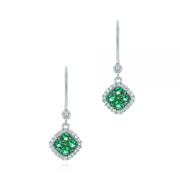 Emerald and Diamond Leverback Earrings - Image