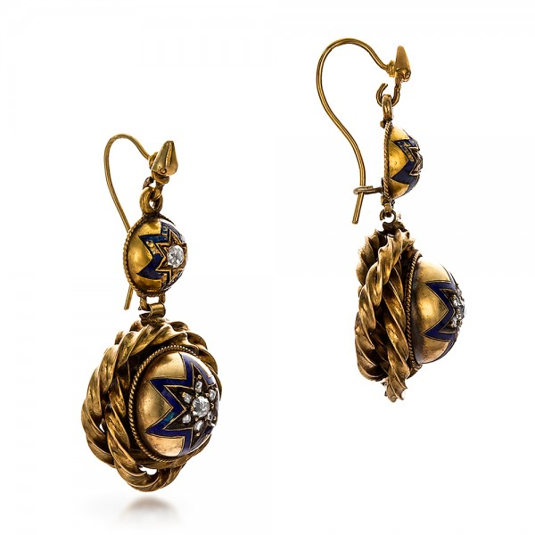 Victorian Yellow Gold and Diamond Earrings - Laying View