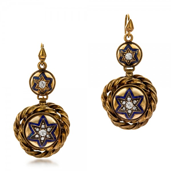 Victorian Yellow Gold and Diamond Earrings