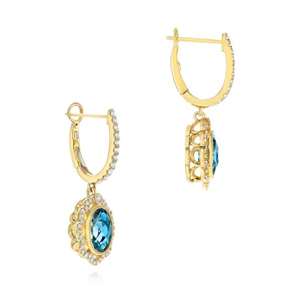 14K Gold Floral London Blue Topaz And Diamond Halo Earrings - Front View -  106006 - Thumbnail