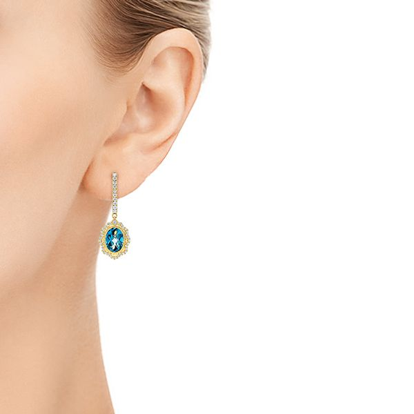 14K Gold Floral London Blue Topaz And Diamond Halo Earrings - Hand View -  106006 - Thumbnail