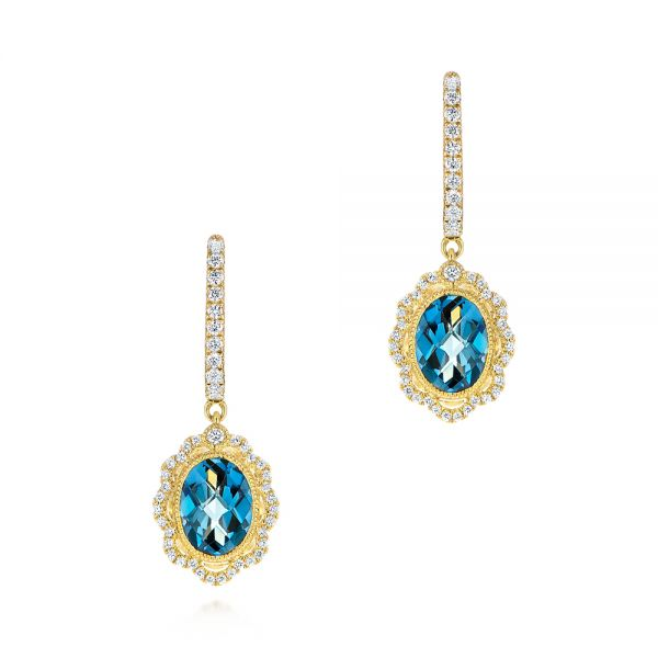 Floral London Blue Topaz and Diamond Halo Earrings - Image