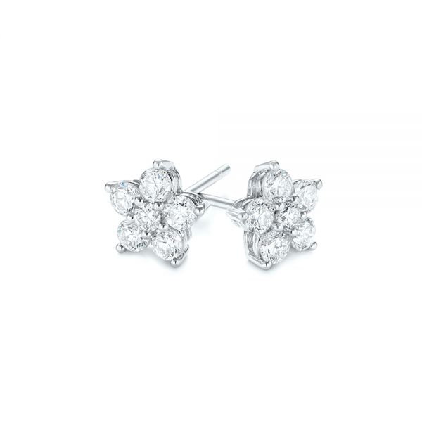 18k White Gold Floral Diamond Earrings - Front View -