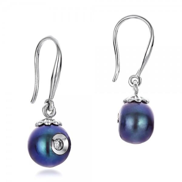 Fresh Black Pearl and Diamond Earrings - Laying View