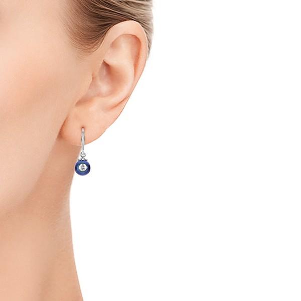 Fresh Black Pearl and Diamond Earrings - Model View