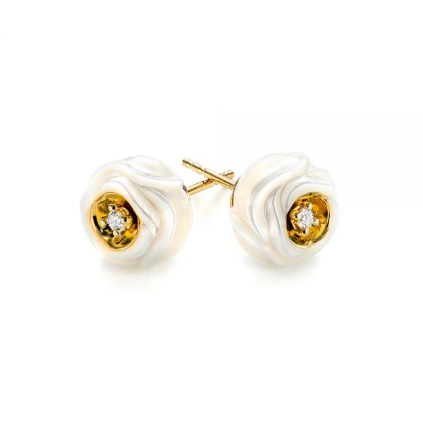 14k Yellow Gold Fresh Carved White Pearl Earrings - Front View -  103254