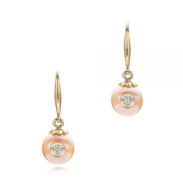 Fresh Peach Pearl and Diamond Earrings - Image