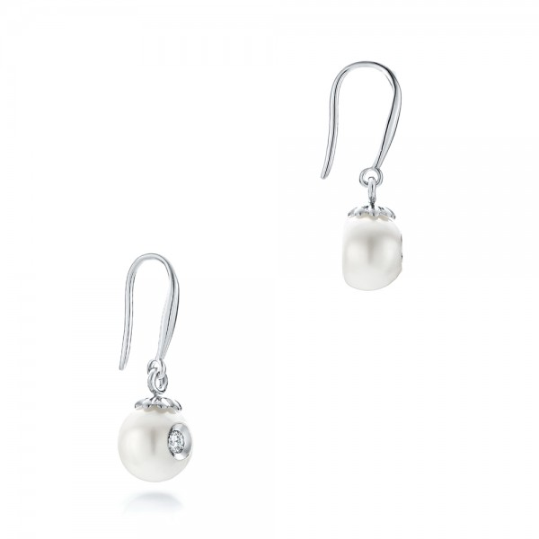 Fresh White Pearl and Diamond Earrings  - Laying View